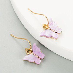 3/$20 Gold & Pastel Purple Butterfly Earrings